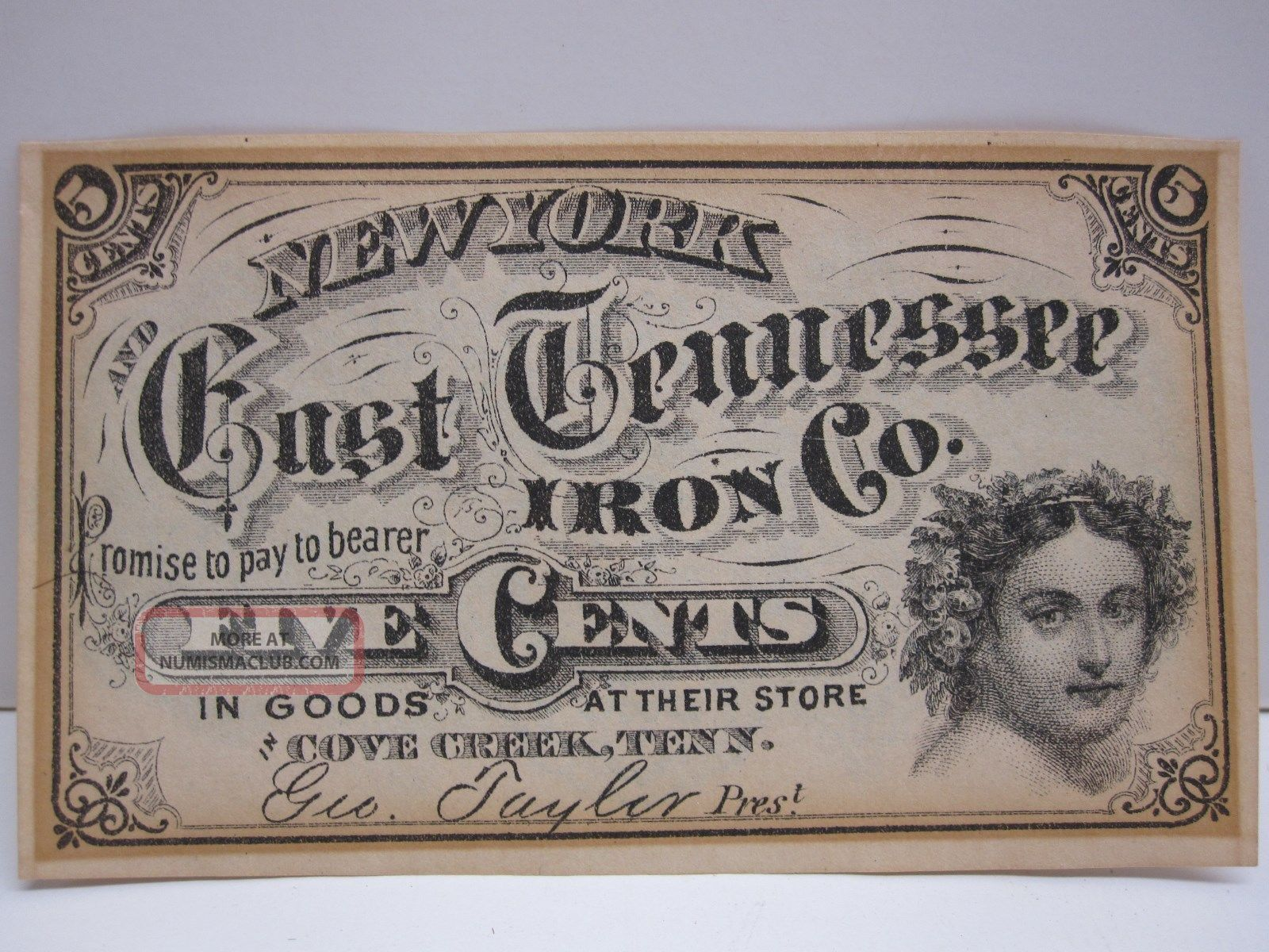 York And East Tennessee Iron Company 5 Cent Fractional Script Note Stocks & Bonds, Scripophily photo