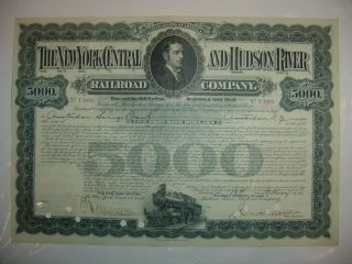 $5,  000 York Central And Hudson River Railroad Company Bond Stock Certificate photo