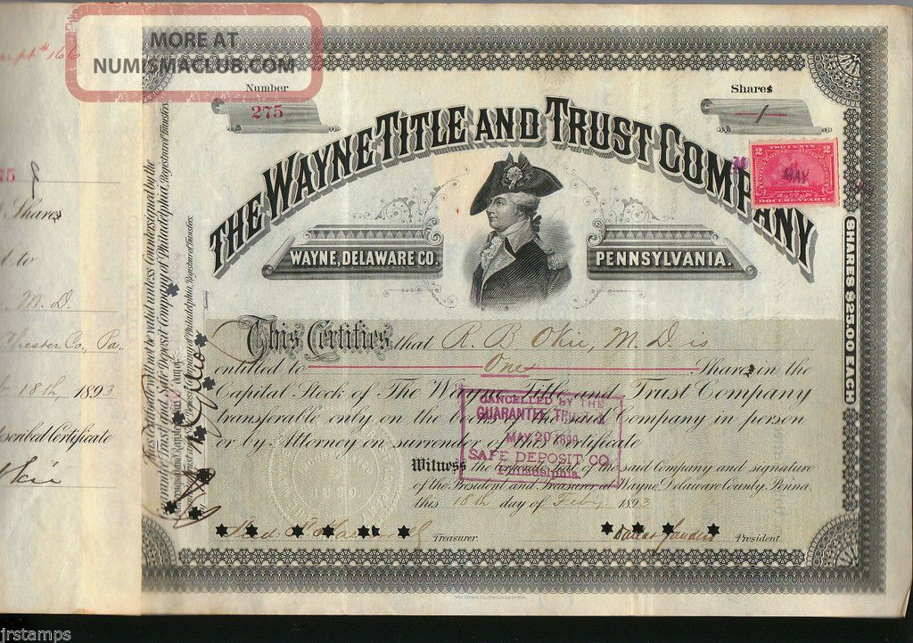 Mad Anthony Wayne Title & Trust Company 1893 Stock Certificate + Revenue Stamps Stocks & Bonds, Scripophily photo