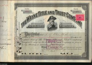 Mad Anthony Wayne Title & Trust Company 1893 Stock Certificate + Revenue Stamps photo