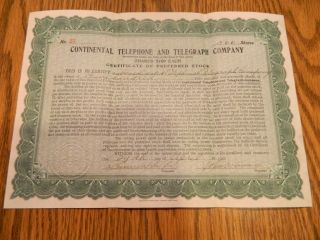 Stock Certificate Continental Telephone And Telegraph Company 1910 photo
