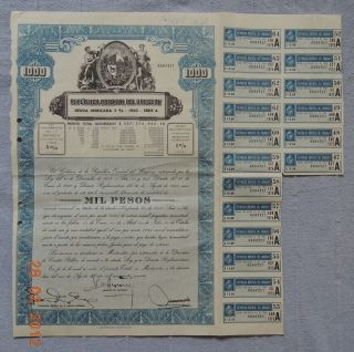 Uruguay Republica Oriental 1960 1000 Pesos Deuda Interna 18 Coupons Uncancelled photo