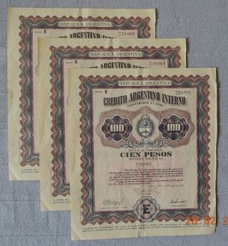 3x Argentine Argentina Creditointerno 1956 100$ Consecutive Numbers Uncancelled photo