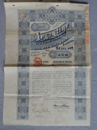 Argentine Government Argentina 5% Loan 1886,  100 £,  With 25 Coupons Uncancelled photo