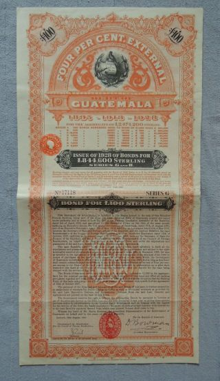 Guatemala Loan 1928 External Debt 100 £ Sterling With Certificate,  Uncancelled photo