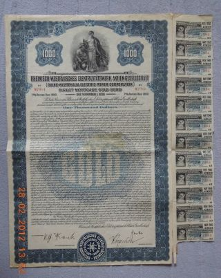 Germany Westphalia Electric Power 1925 1000$ Gold Bond 12 Coupons,  Uncancelled photo