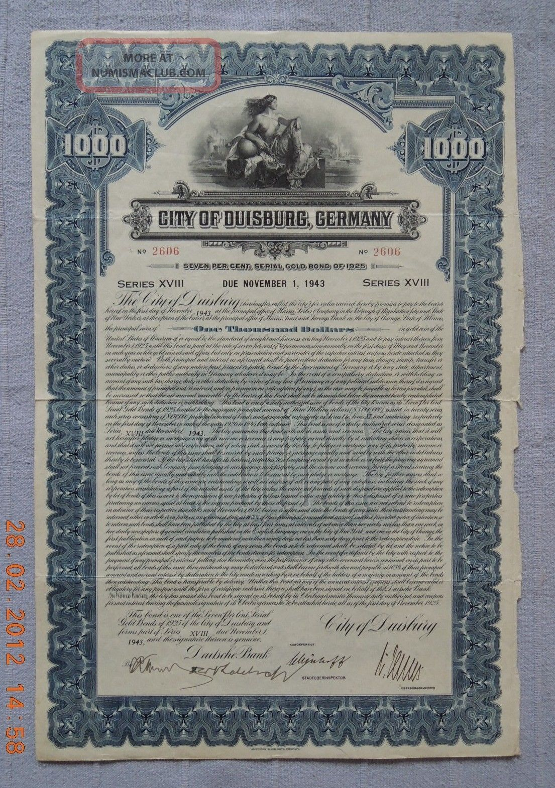 Germany City Of Duisburg 1925 Gold Bond Abnc Series18,  Uncancelled World photo