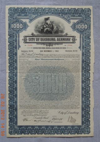 Germany City Of Duisburg 1925 Gold Bond Abnc Series18,  Uncancelled photo