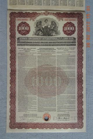 Germany International Loan 1930,  1000$ Gold
