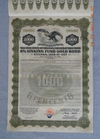 Germany State Of Prussia 1927,  1000$ Gold Bond Hole - Cancelled York Trust photo