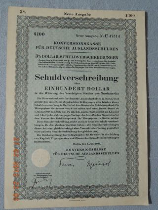 Germany Conversionoffice For German Foreign Debts Berlin 1937,  100$ Uncancelled photo