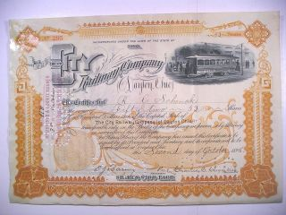 1895 Stock Cert City Railway Co Of Dayton Ohio 52 Sh Vig Elec Trolley Rev Stamps photo