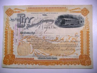 1893 Stock Cert City Railway Co Of Dayton Ohio 100 Sh Vig Elec Trolley Rev Stamp photo