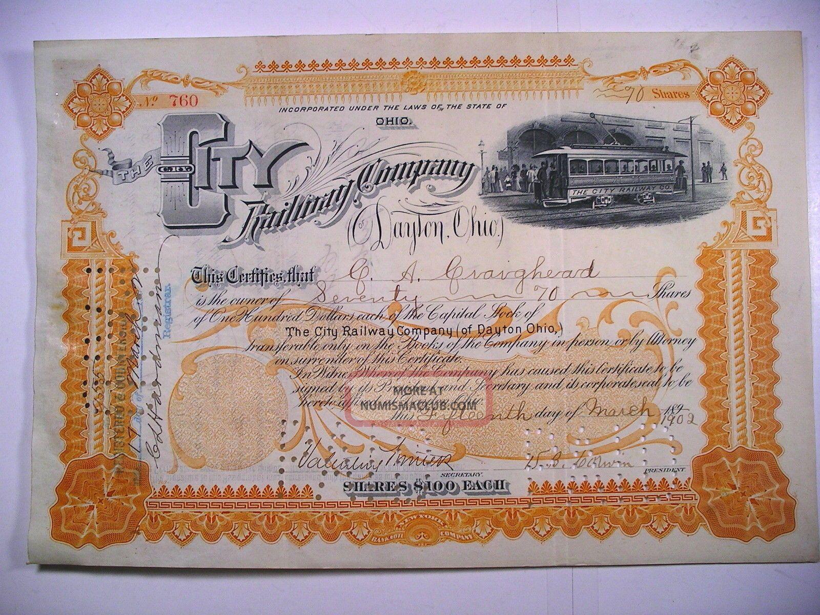 1902 Stock Cert City Railway Co Of Dayton Ohio 70 Sh Vig Elec Trolley Rev Stamp Transportation photo