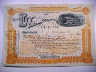 1902 Stock Cert City Railway Co Of Dayton Ohio 70 Sh Vig Elec Trolley Rev Stamp photo