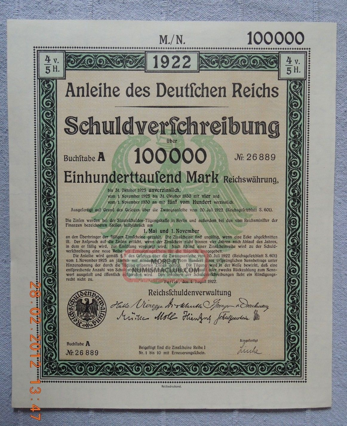 Germany Government Internal Loan 1922 100.  000 Mark Full Coupon Sheet Uncancelled World photo