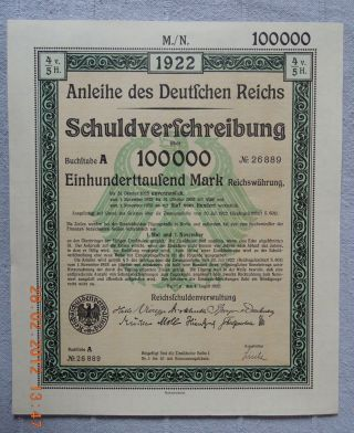 Germany Government Internal Loan 1922 100.  000 Mark Full Coupon Sheet Uncancelled photo