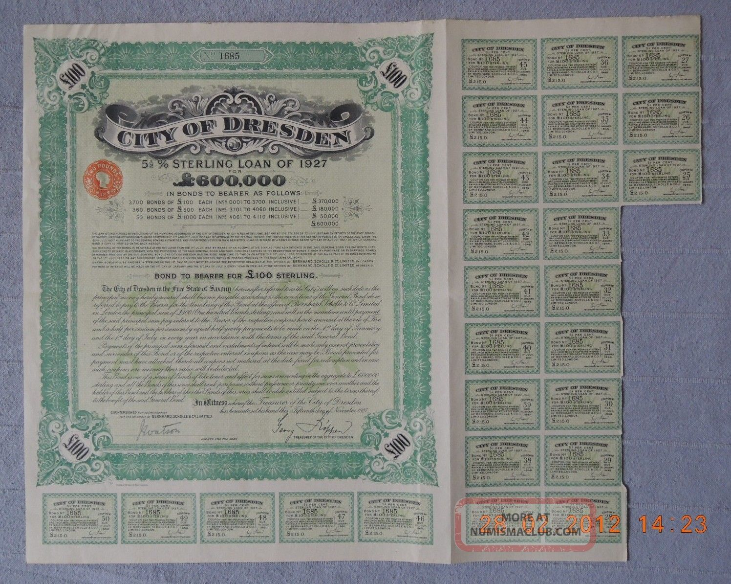 Germany City Of Dresden Sterling Loan 1927,  100£,  With 21 Coupons Uncancelled World photo