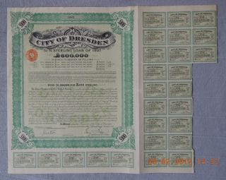 Germany City Of Dresden Sterling Loan 1927,  100£,  With 21 Coupons Uncancelled photo