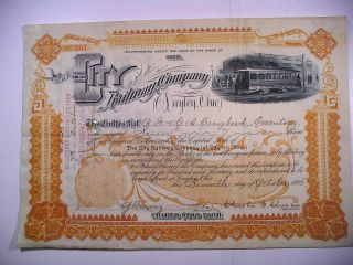 1895 Stock Cert City Railway Co Of Dayton Ohio 7 Sh Vignette Electric Streetcar photo