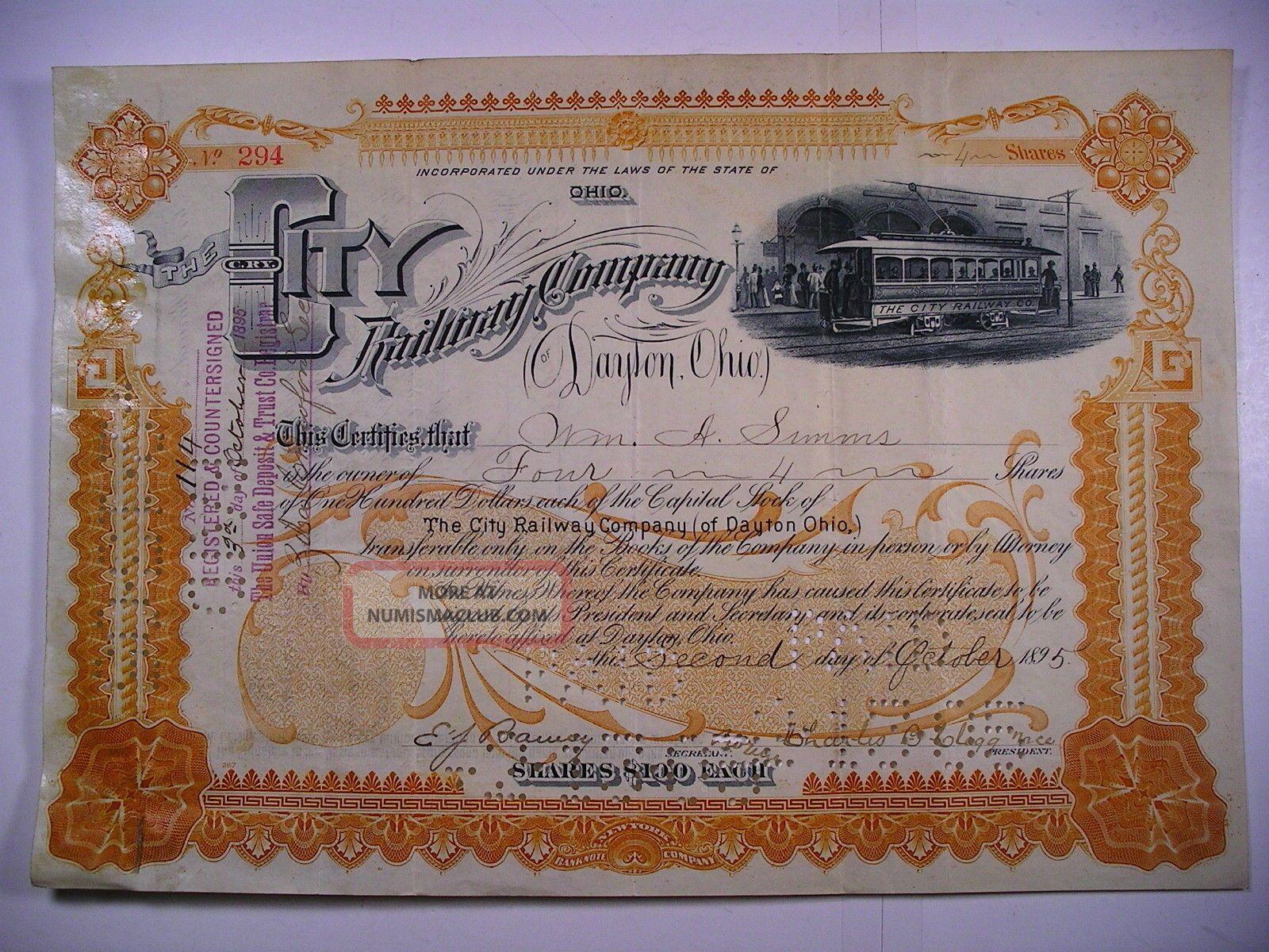 1895 Stock Cert City Railway Co Of Dayton Ohio 4 Sh Vignette Electric Streetcar Transportation photo