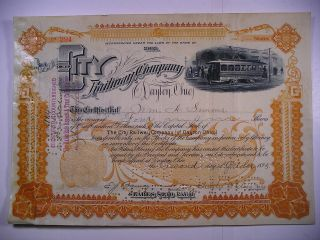 1895 Stock Cert City Railway Co Of Dayton Ohio 4 Sh Vignette Electric Streetcar photo