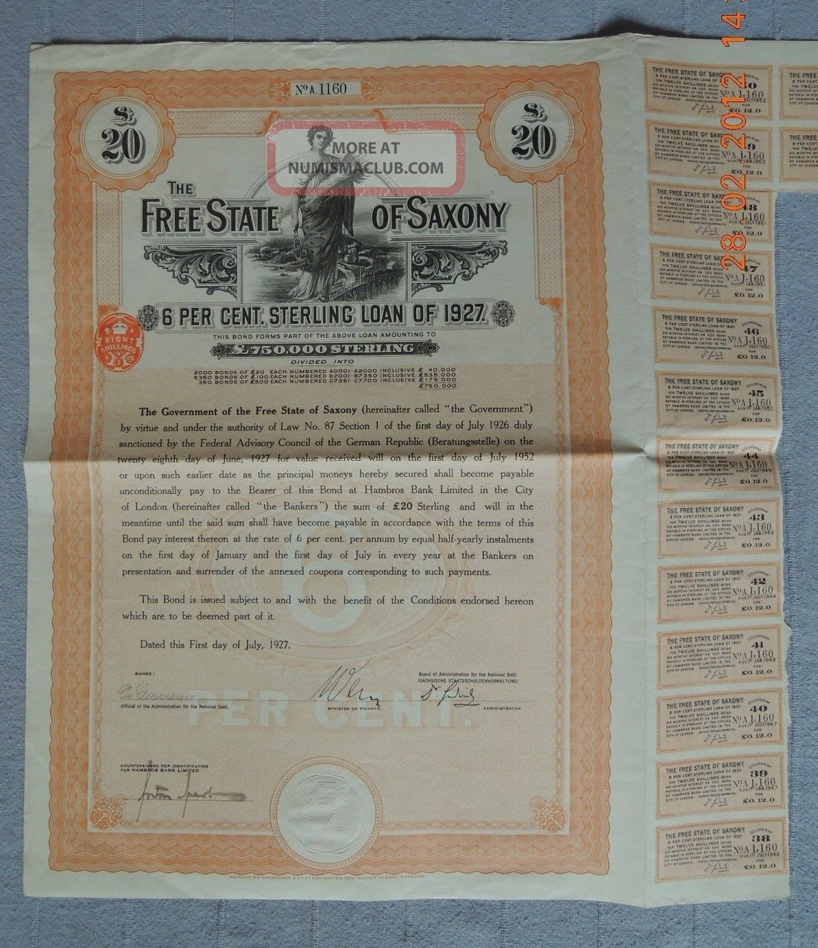 Germany State Of Saxony 6% Sterling Loan 1927,  20£,  15 Coupons Uncancelled World photo