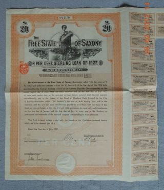 Germany State Of Saxony 6% Sterling Loan 1927,  20£,  15 Coupons Uncancelled photo