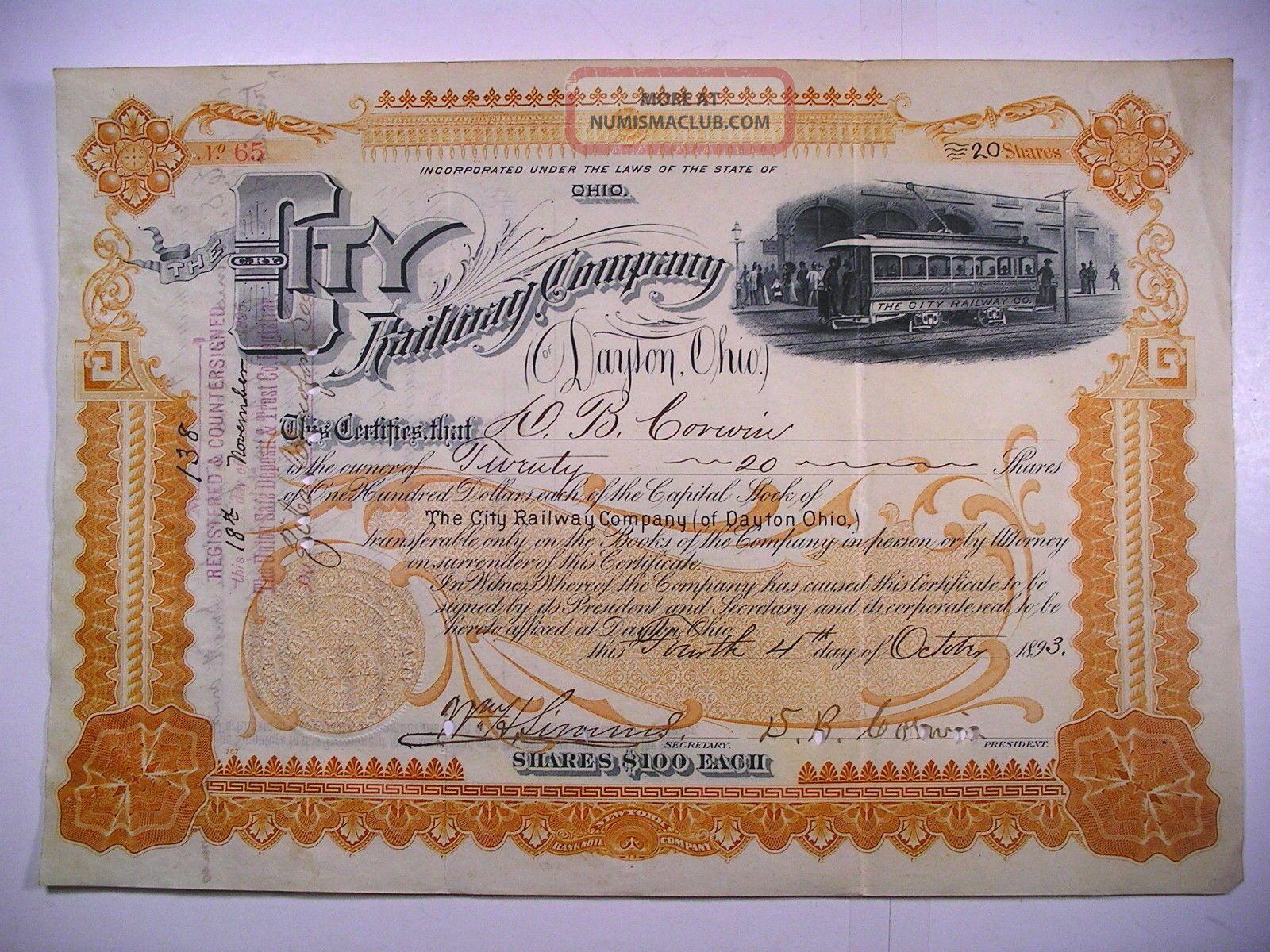 1893 Stock Cert City Railway Co Of Dayton Ohio 20 Sh Vignette Electric Streetcar Transportation photo