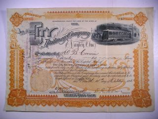 1893 Stock Cert City Railway Co Of Dayton Ohio 20 Sh Vignette Electric Streetcar photo
