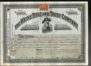 Mad Anthony Wayne Title & Trust Company 1902 Stock Certificate + Revenue Stamp photo