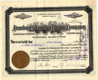 1912 Territory Of Az Jumbo Extension Minning Co Stock Certificate photo