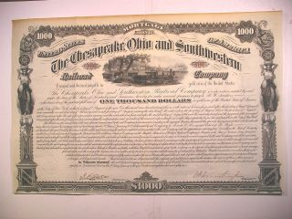 $1k Bond Signed Collis P Huntington Chesapeake Ohio & Southwestern Rr 1882 photo