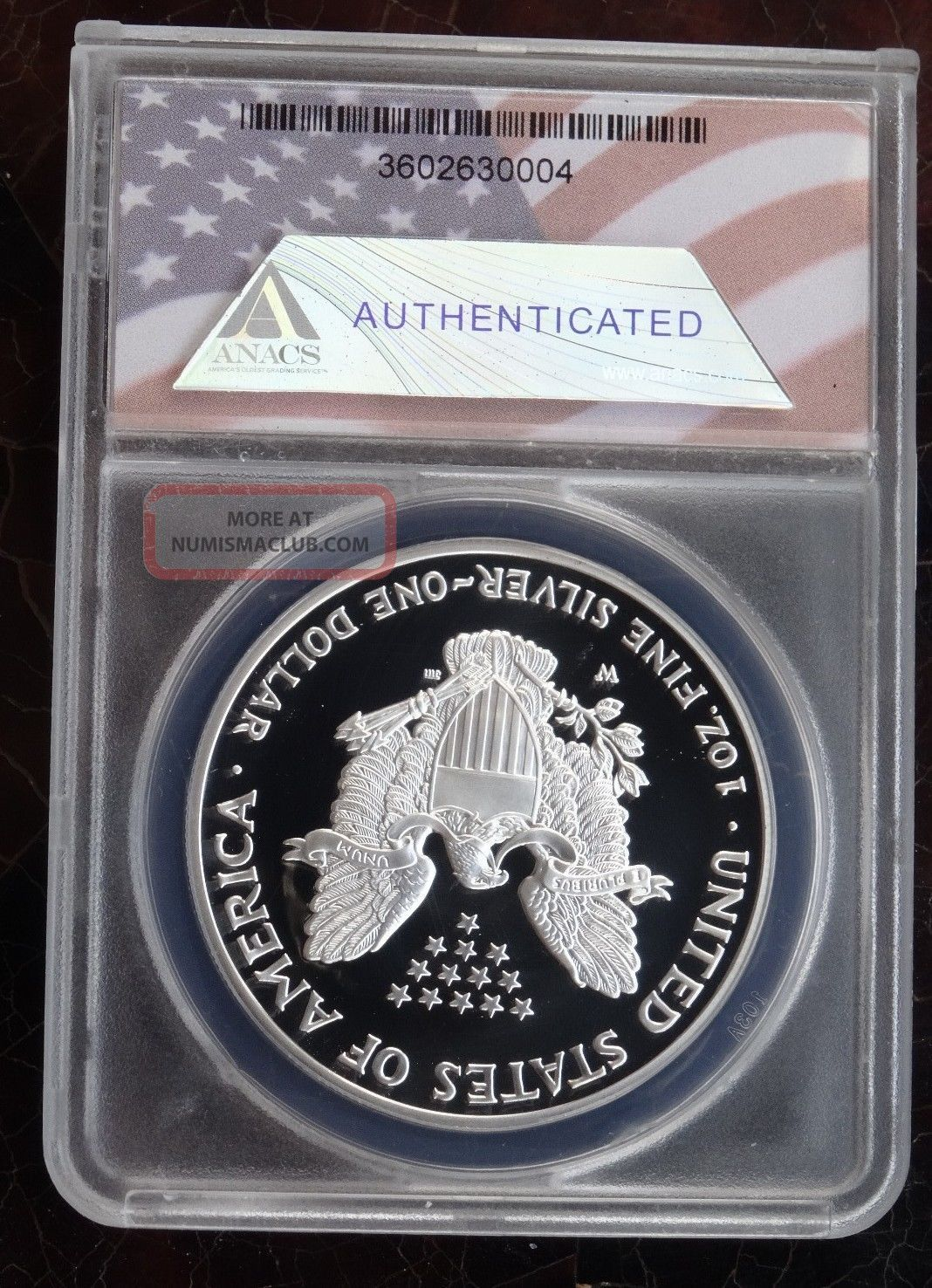 2002 W 1 Proof American Silver Eagle Anacs Pr70 Dcam Low
