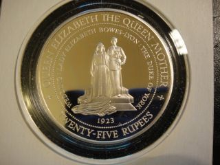 1994 Seychelles 25 Rupees Sterling Silver Proof.  Queen Mother.  Dmcam photo