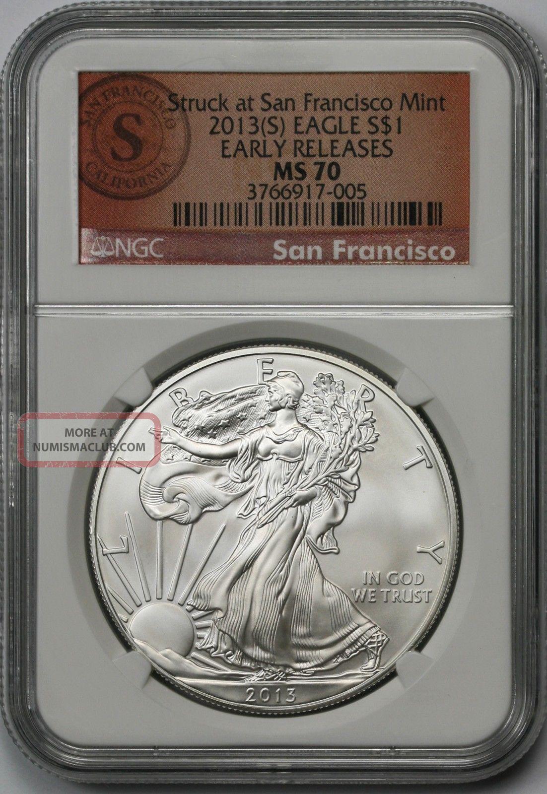 2013 S Silver Eagle 1 Ms 70 Ngc E R Struck At San