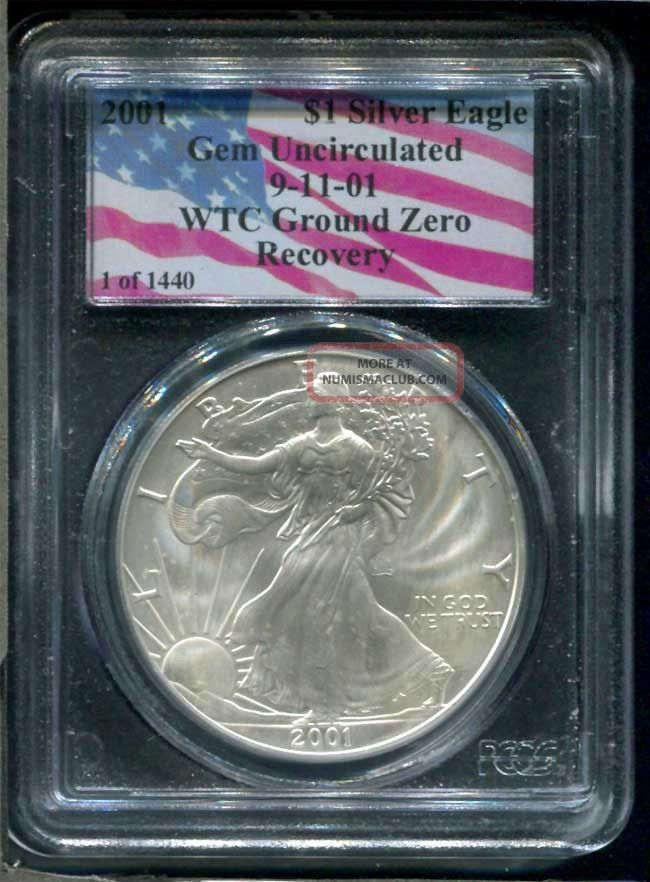 2001 Collectors Universe Gem Uncirculated Silver Eagle Wtc