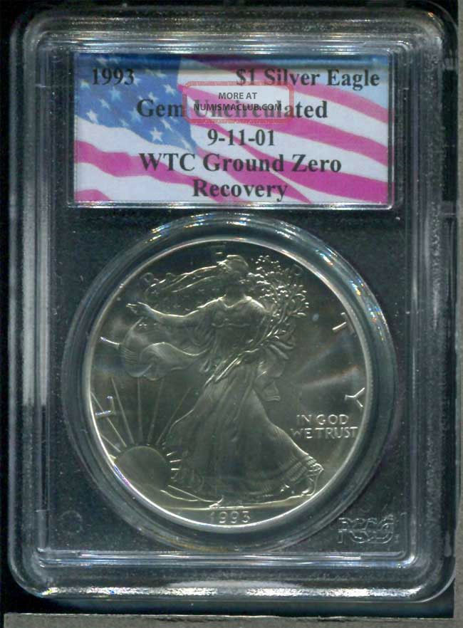 1993 Gem Uncirculated Silver Eagle Wtc Ground Zero