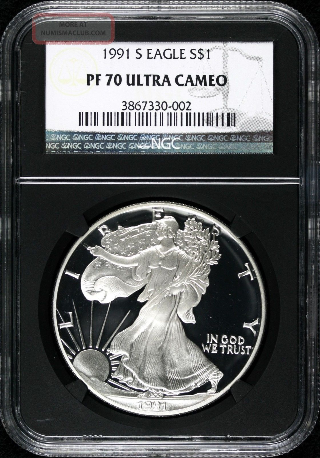 1991 S Silver Eagle 1 Ngc Pf70 Ultra Cameo Proof Black