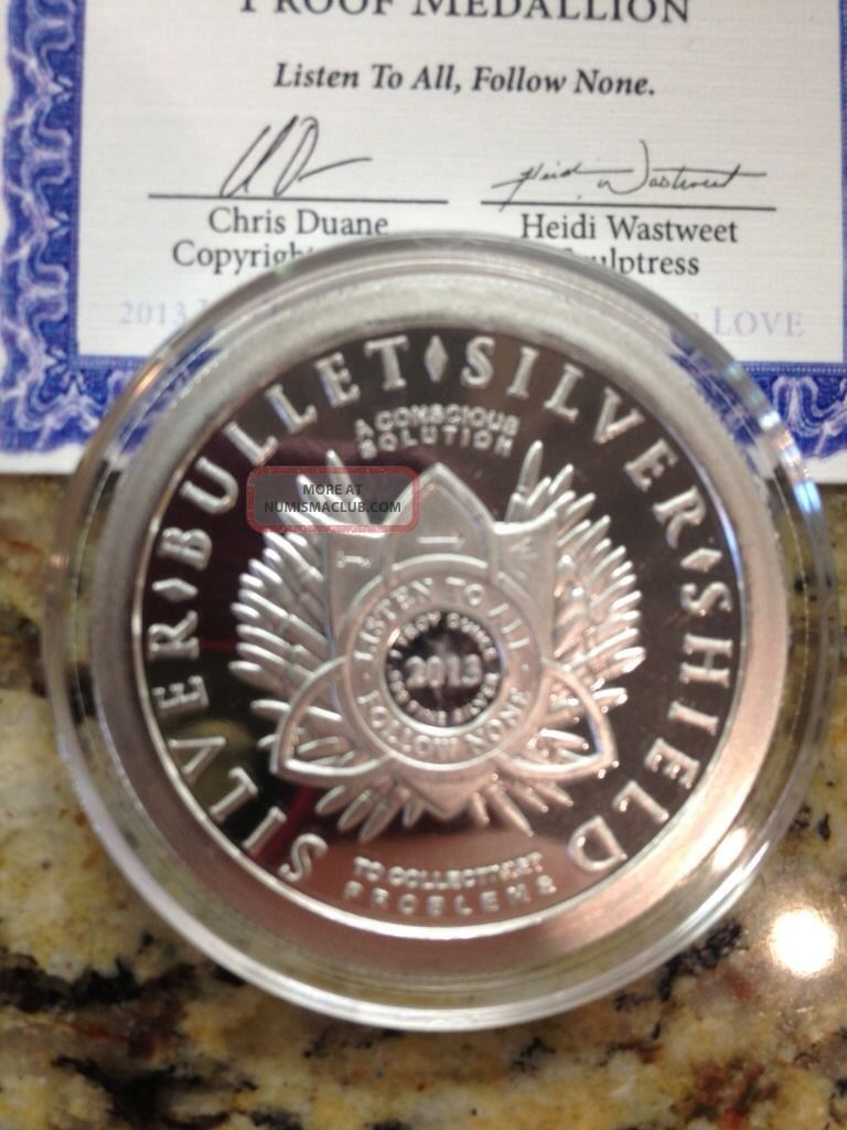 Silver Bullet Silver Shield Love 1 Oz Silver Coin Sbss