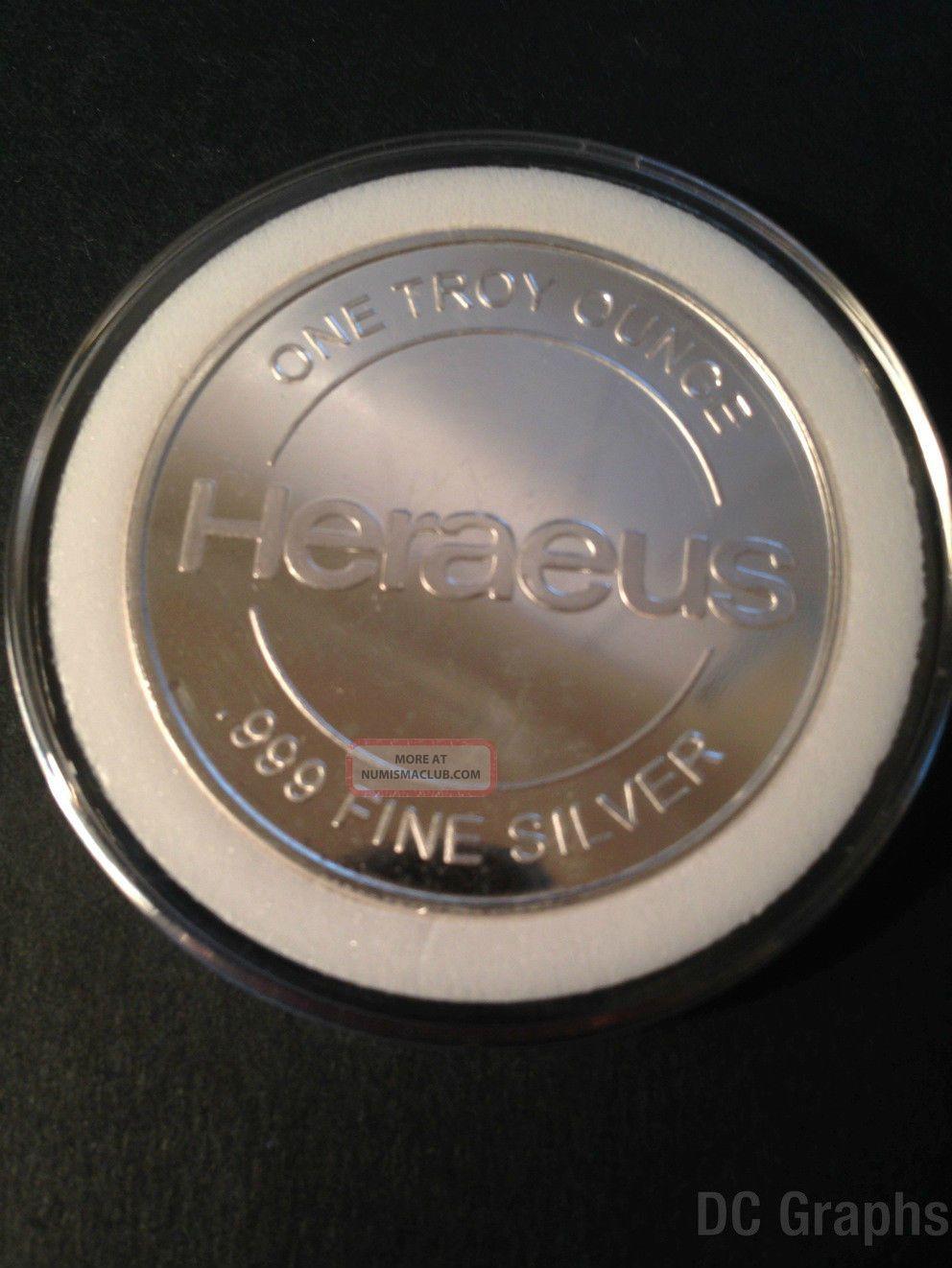 1 Oz Heraeus Silver Round 999 Fine