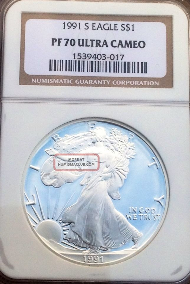 1991 S 1 Ngc Pf 70 Ucameo Proof Silver Eagle Rare