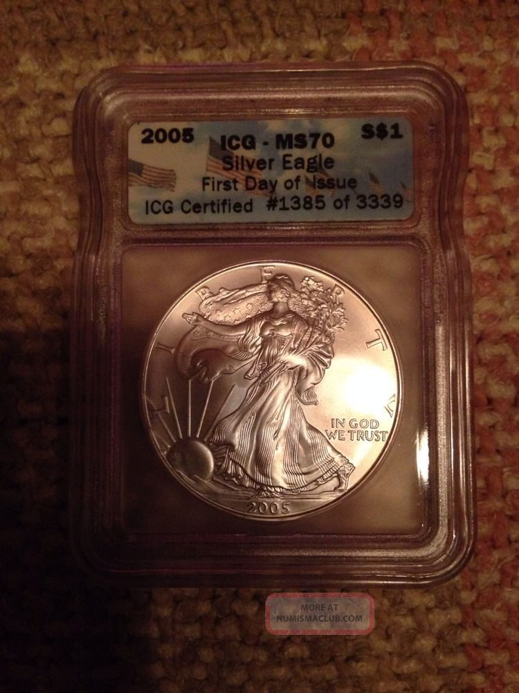 2005 1 Oz Silver Eagle Certified By Icg Ms70 Rare Coin 1