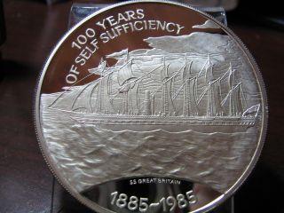 Falkland Islands - 1985 - 100th Anniv.  - Self Sufficiency - 4.  5oz.  Silver Proof photo