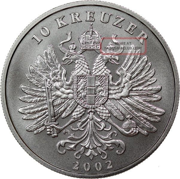 2002 Austria 10 Kreuzer 1 Oz Silver Coin Gem Bu