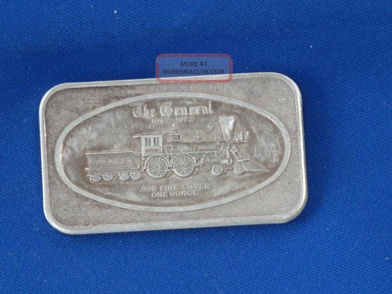 1972 The General Locomotive Silver Art Bar Ingot Train One