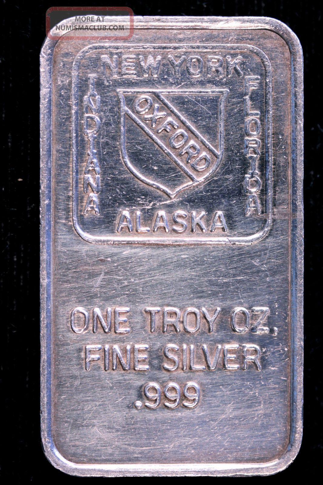 Oxford 1 Troy Ounce Oz 999 Fine Silver Bullion Alaska