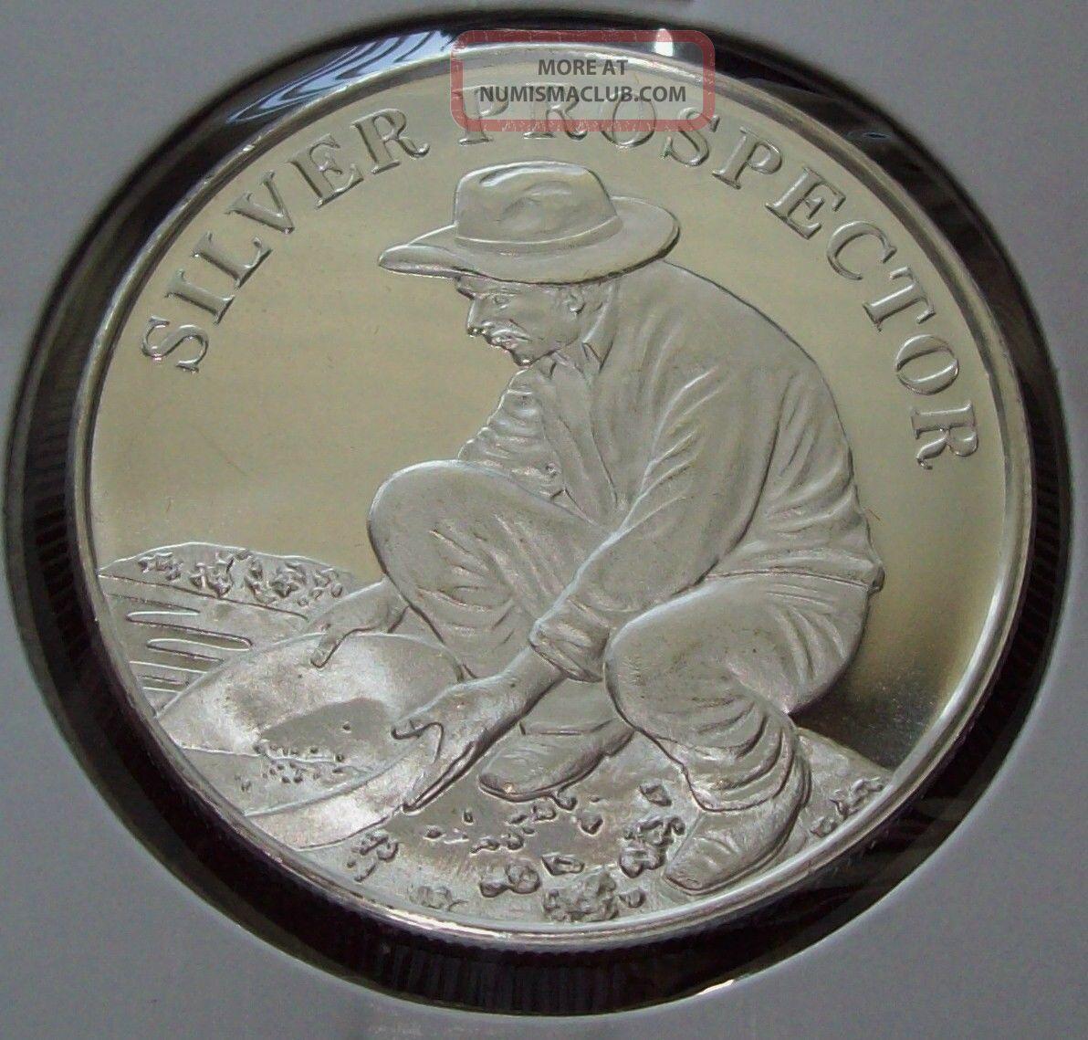Silver Prospector 1 Troy Oz 999 Fine Silver Round One Ounce Bullion