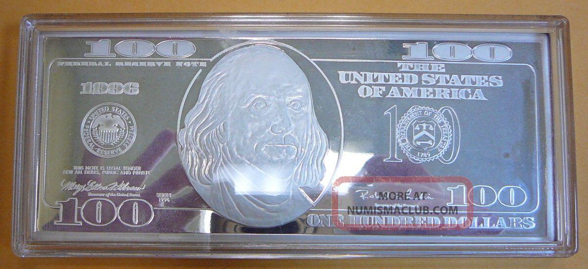 1996 100 Bill Silver Proof 999 Pure Silver 4oz Troy Bar