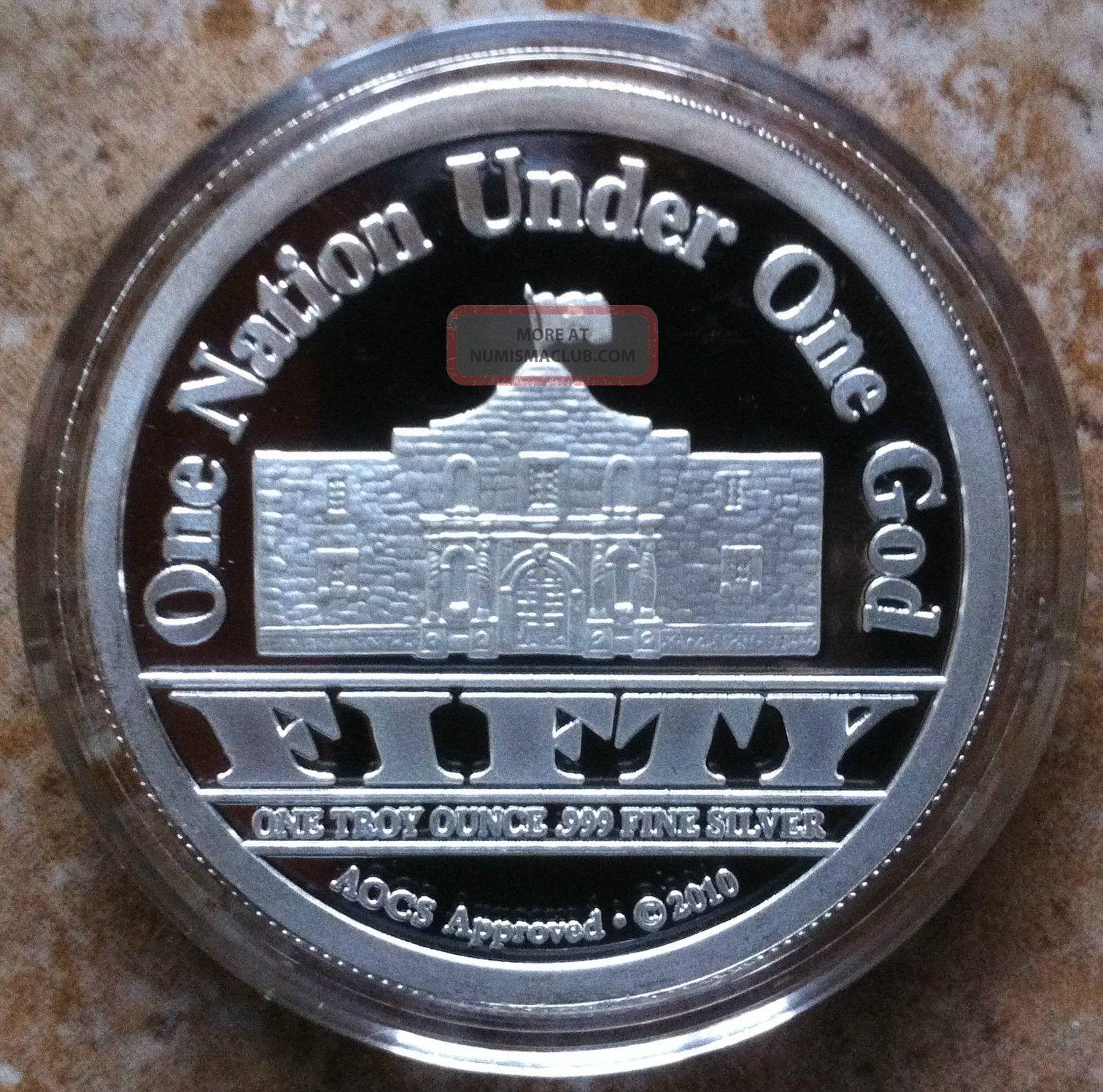 1oz 999 Fine Silver Republic Of Texas Alamo Round Coin